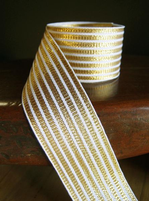 Metallic Gold & White Seersucker Striped Grosgrain Ribbon (3 sizes)