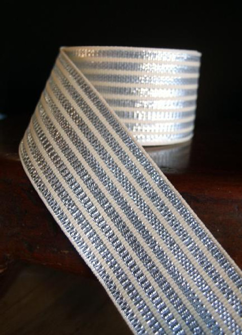 Metallic Silver & Ivory Seersucker Striped Grosgrain Ribbon (3 sizes)