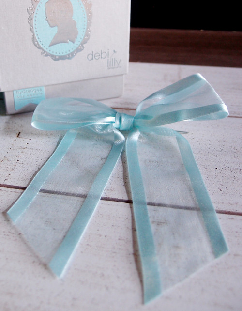 "Light Blue Organza Satin Edge  Pre-tied 4.5"" Bow w/Twist-tie"