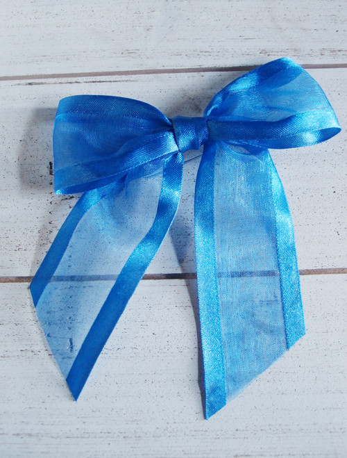 "Royal Blue Organza Satin Edge Pre-tied 4.5"" Bow w/Twist-tie"