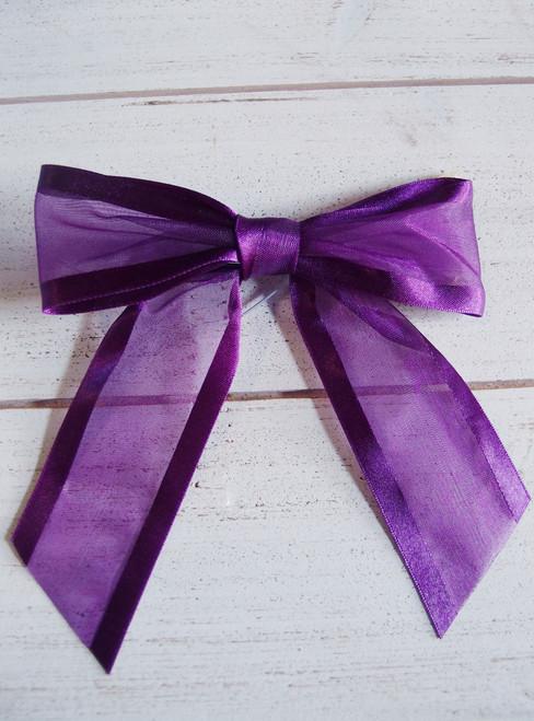 "Satin Edge Purple Organza Pre-tied 4.5"" Bow w/Twist-tie"