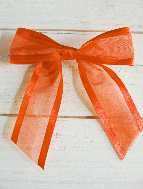 "Orange Organza Satin Edge Pre-tied 4.5"" Bow w/Twist-tie"