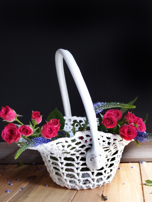 Stiffened Lace Basket with Handle LS185-83, Wholesale Lace Baskets | Packaging Decor