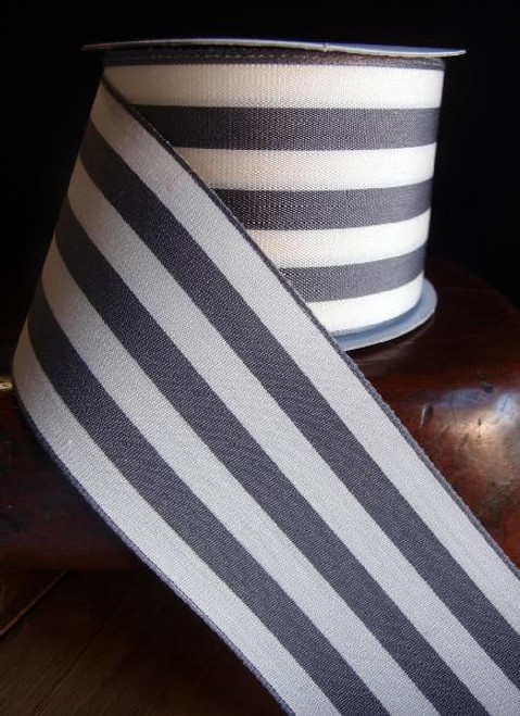 Gray & Ivory Striped Ribbon (3 sizes)
