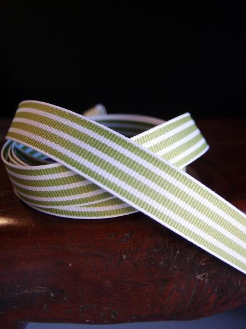 Kiwi & White Seersucker Striped Grosgrain (3 sizes)