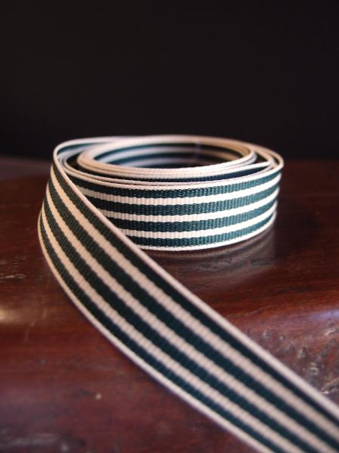 Green & Ivory Seersucker Striped Grosgrain (3 sizes)