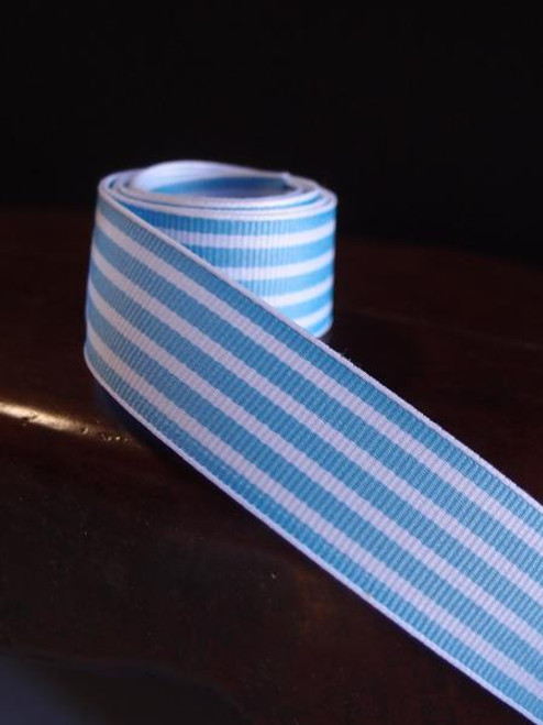 Blue & White Seersucker Striped Grosgrain (3 sizes)