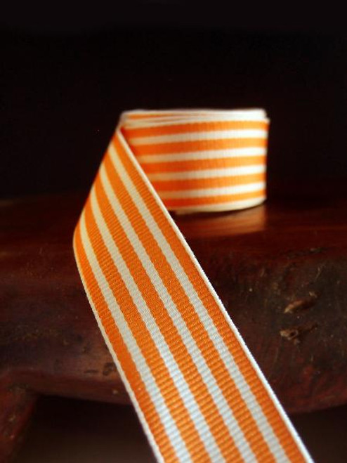 Orange & Ivory Seersucker Striped Grosgrain (3 sizes)