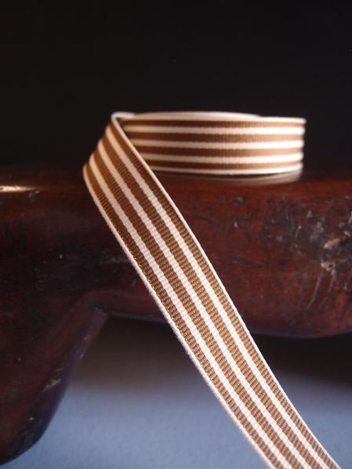Brown & Ivory Seersucker Striped Grosgrain (3 sizes)