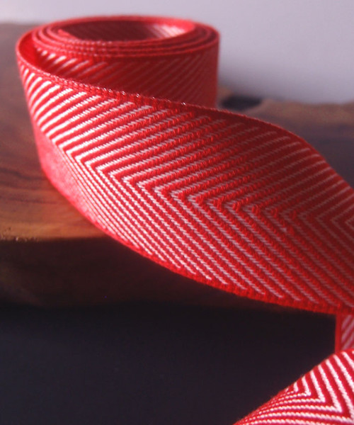 Red Chevron Herringbone Ribbon
