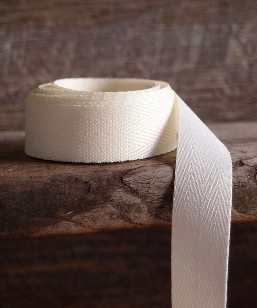 Ivory Herringbone Twill Ribbon (3 sizes)