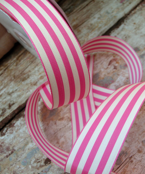Pink & Ivory Striped Ribbon (3 sizes)