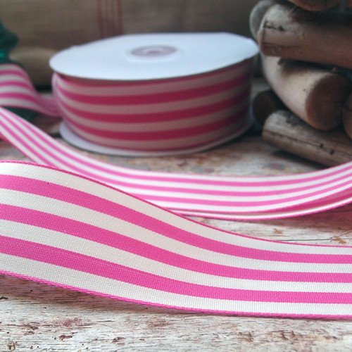 Pink & Ivory Striped Ribbon (3 sizes)