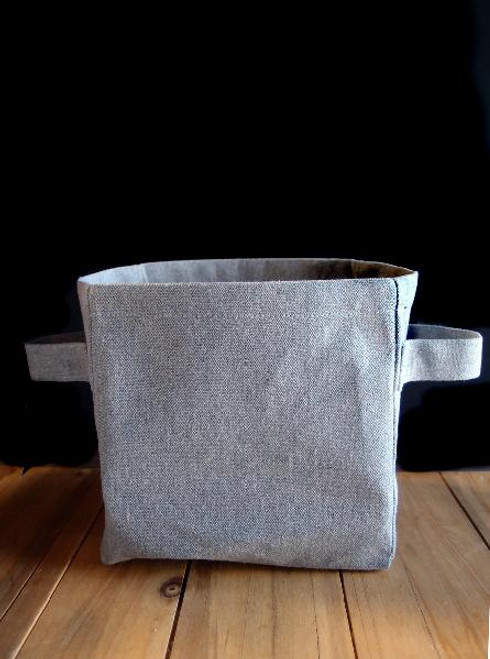 Grey Recycled Canvas Storage Basket