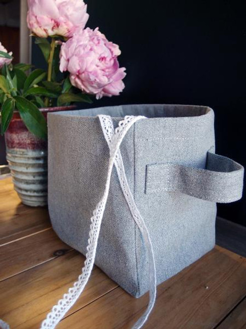 Gray Recycled Canvas Storage Basket with Laminate Lining