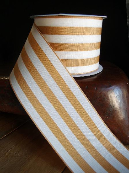 Honey Gold  & Ivory Striped Ribbon (3 sizes)