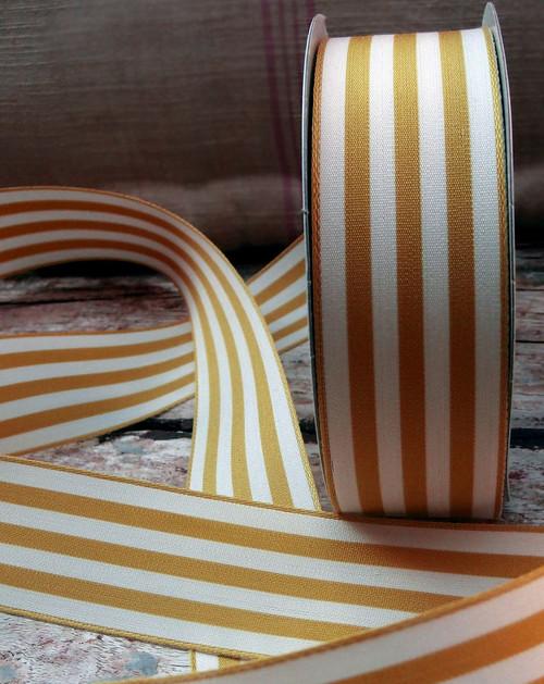 Honey Gold  & Ivory Striped Ribbon (3 sizes)
