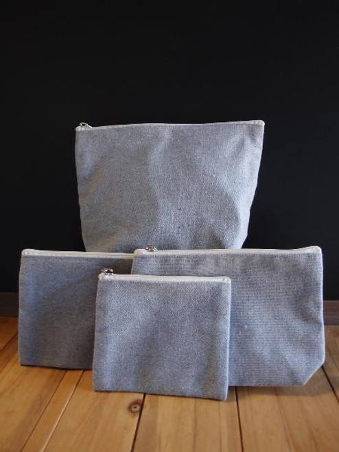 Grey Recycled Canvas Zipper Pouch 8""