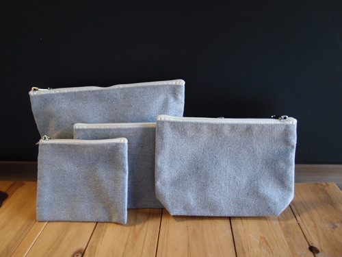 Grey Recycled Canvas Flat Zipper Pouch 9""