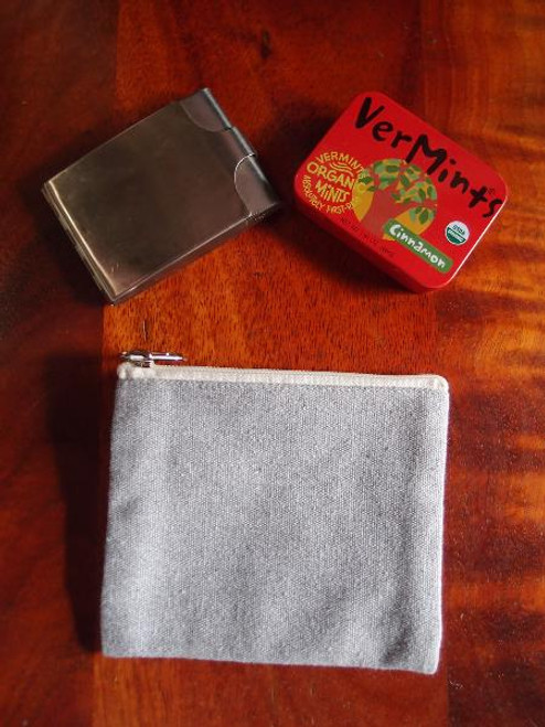 Grey Recycled Canvas Zipper Pouch Small
