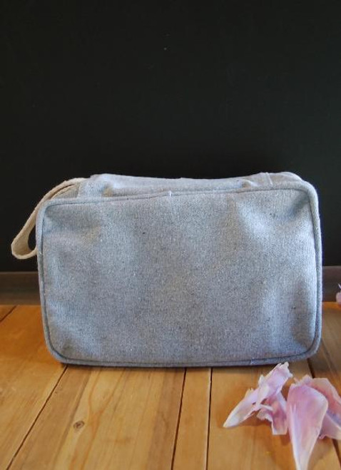 Gray Recycled Canvas Travel Kit Bag Dopp Kit