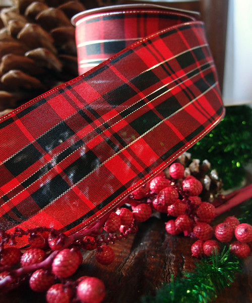 Red & Black Plaid Wired Ribbon with Metallic Accents (2 sizes)