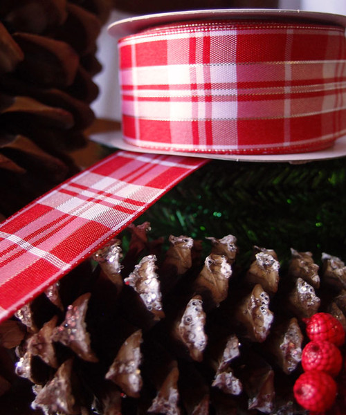 Red & White Plaid Wired Ribbon with Metallic Accents (2 sizes)