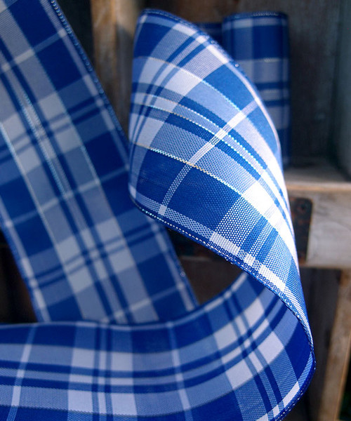 Royal Blue & White Plaid Wired Ribbon with Metallic Accents (2 sizes)
