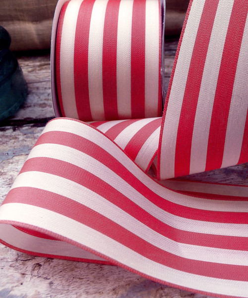 Raspberry & Ivory Striped Ribbon (3 sizes)