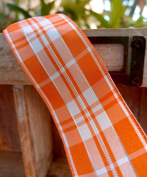 Orange & White Plaid Wired Ribbon with Metallic Accents (2 sizes)