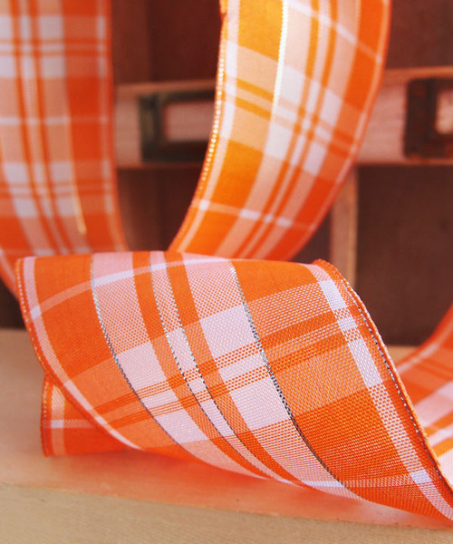 Orange & White Plaid Wired Ribbon with Metallic Accents (2 sizes)