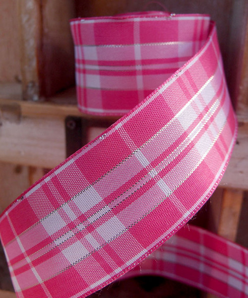 Pink & White Plaid Wired Ribbon with Metallic Accents (2 sizes)