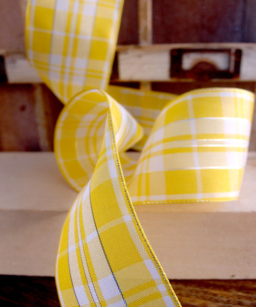 Yellow & White Plaid Wired Ribbon with Metallic Accents (2 sizes)