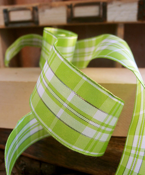 Mint & White Plaid Wired Ribbon with Metallic Accents (2 sizes)