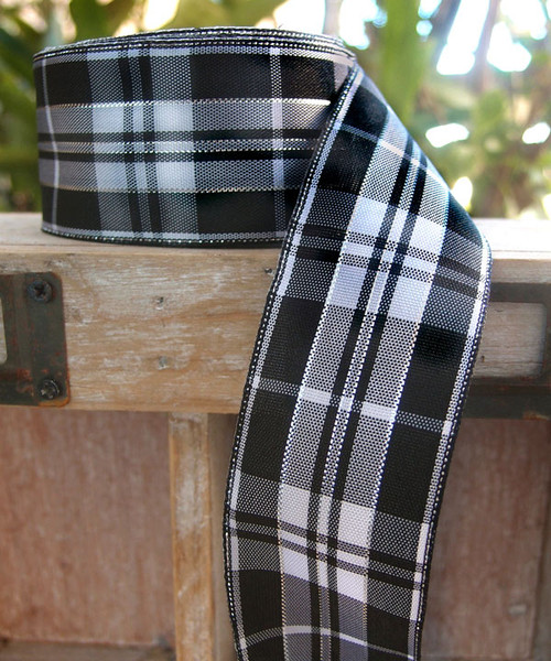 Black & White Plaid Wired Ribbon with Metallic Accents (2 sizes)