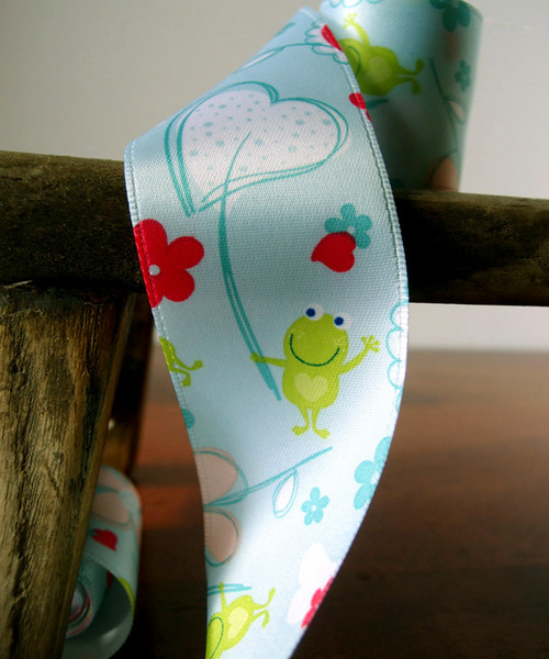 Floral Print Satin Ribbon - Blue