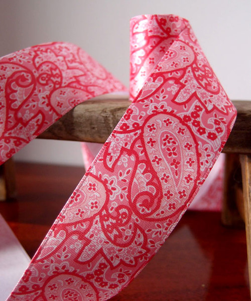 Paisley Satin Ribbon - Pink