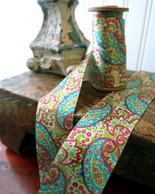 Paisley Satin Ribbon - Green