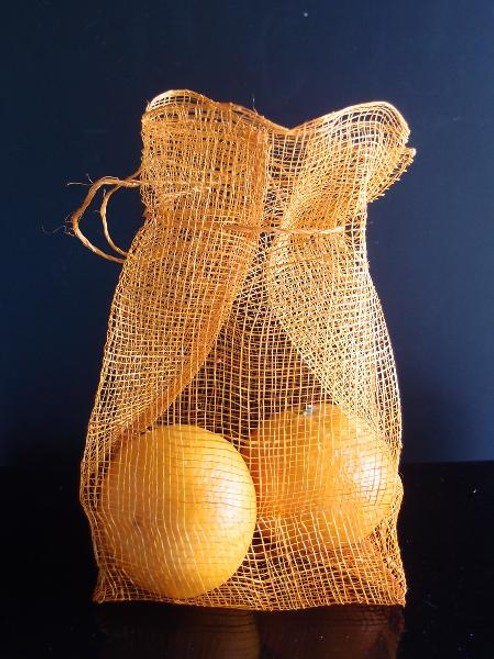 Orange Sinamay Drawstring Pouches
