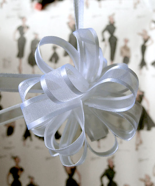 Wholesale Pull Bows, White Sheer with Satin Edge Pull Bow | Packaging Decor