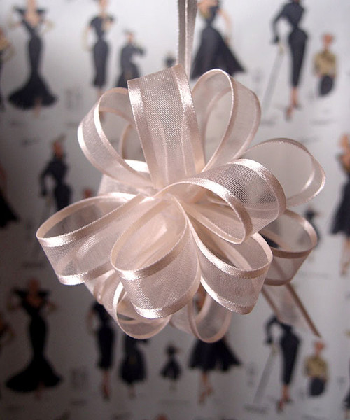 Wholesale Pull Bows, Ivory Sheer with Satin Edge Pull Bow | Packaging Decor