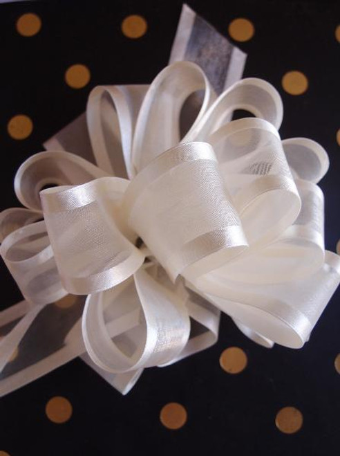 Ivory Sheer w/Satin Edge Pull Bow (2 sizes)