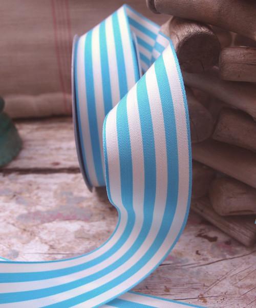 Blue & Ivory Striped Ribbon (3 sizes)