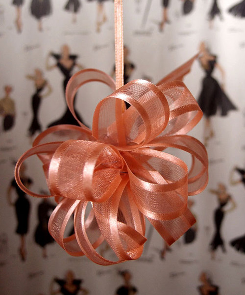 Wholesale Pull Bows, Peach Pull Bows, Sheer with Satin Edge Pull Bow | Packaging Decor