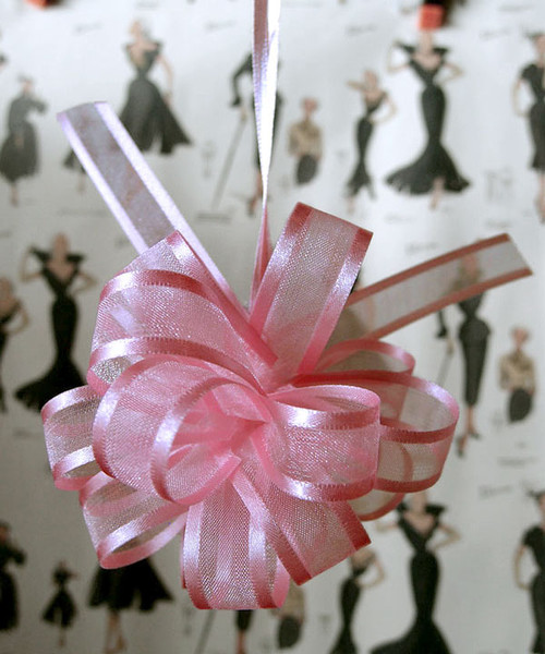 Wholesale Pull Bows, Pink Pull Bows, Sheer with Satin Edge Pull Bow | Packaging Decor