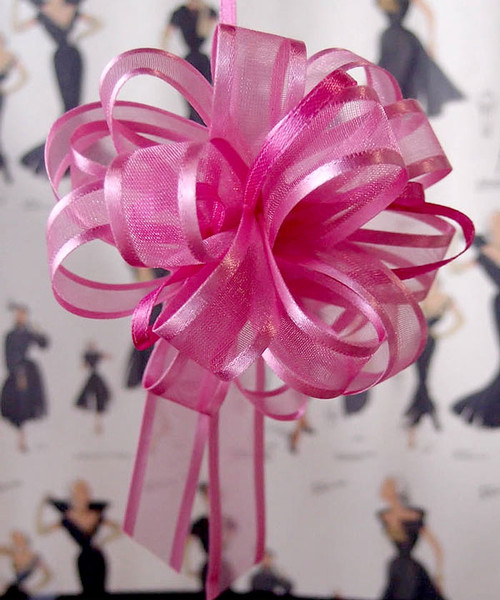 Wholesale Pull Bows, Hot Pink Sheer with Satin Edge Pull Bow | Packaging Decor