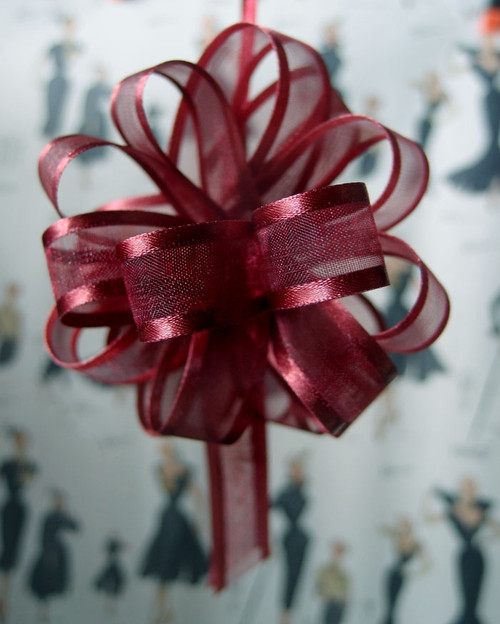 Wholesale Pull Bows, Burgundy Pull Bows, Sheer with Satin Edge Pull Bow | Packaging Decor