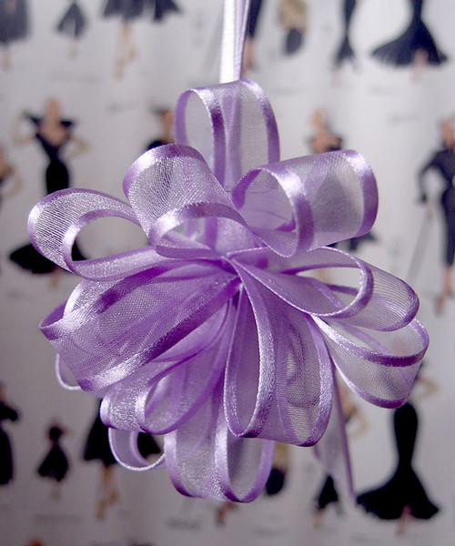 Wholesale Pull Bows, Lavender Sheer with Satin Edge Pull Bow, PR819-11, PR815-11 | Packaging Decor