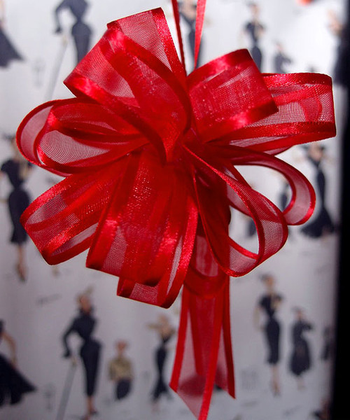 Wholesale Pull Bows, Red Pull Bows, Sheer with Satin Edge Pull Bow | Packaging Decor