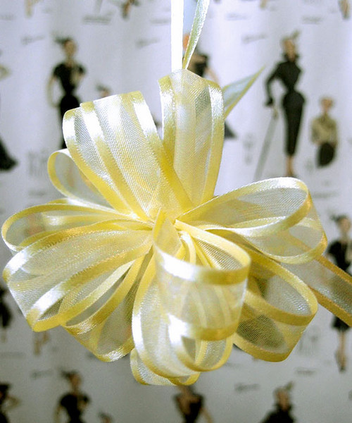 Wholesale Pull Bows, Yellow Sheer with Satin Edge Pull Bow | Packaging Decor